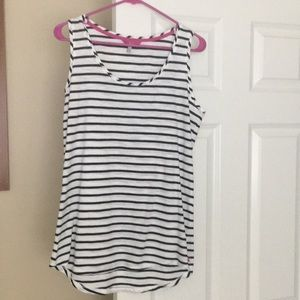 Navy and white striped sleeveless shell top